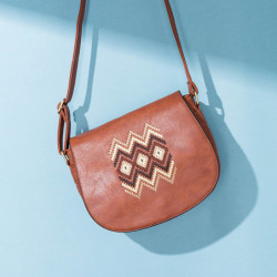 Women National PU Leather Embroidery Crossbody Bag