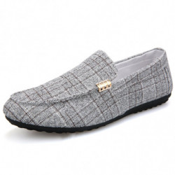 Men Plaid Canvas Comfy Soft Slip On Casual Loafers