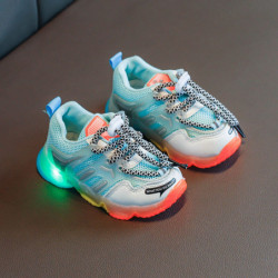 Unisex Kids LED Light Rainbow Sole Lace Up Casual Sneakers