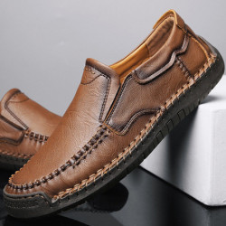 Men Classic Hand Stitching Leather Loafers